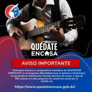 Gobierno dominicano aprobó la solicitud del consejo directivo de incluir a los autores de SGACEDOM